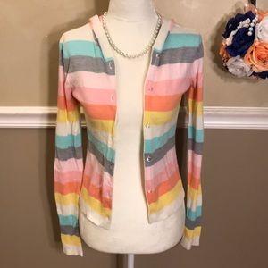 Aeropostale striped hooded cardigan sweater